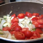 add onion and tomatoes