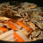 put radish, carrot, black fungus, mushroom, burdock and seasoning into pot
